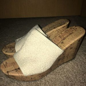 Cream colored comfy wedges
